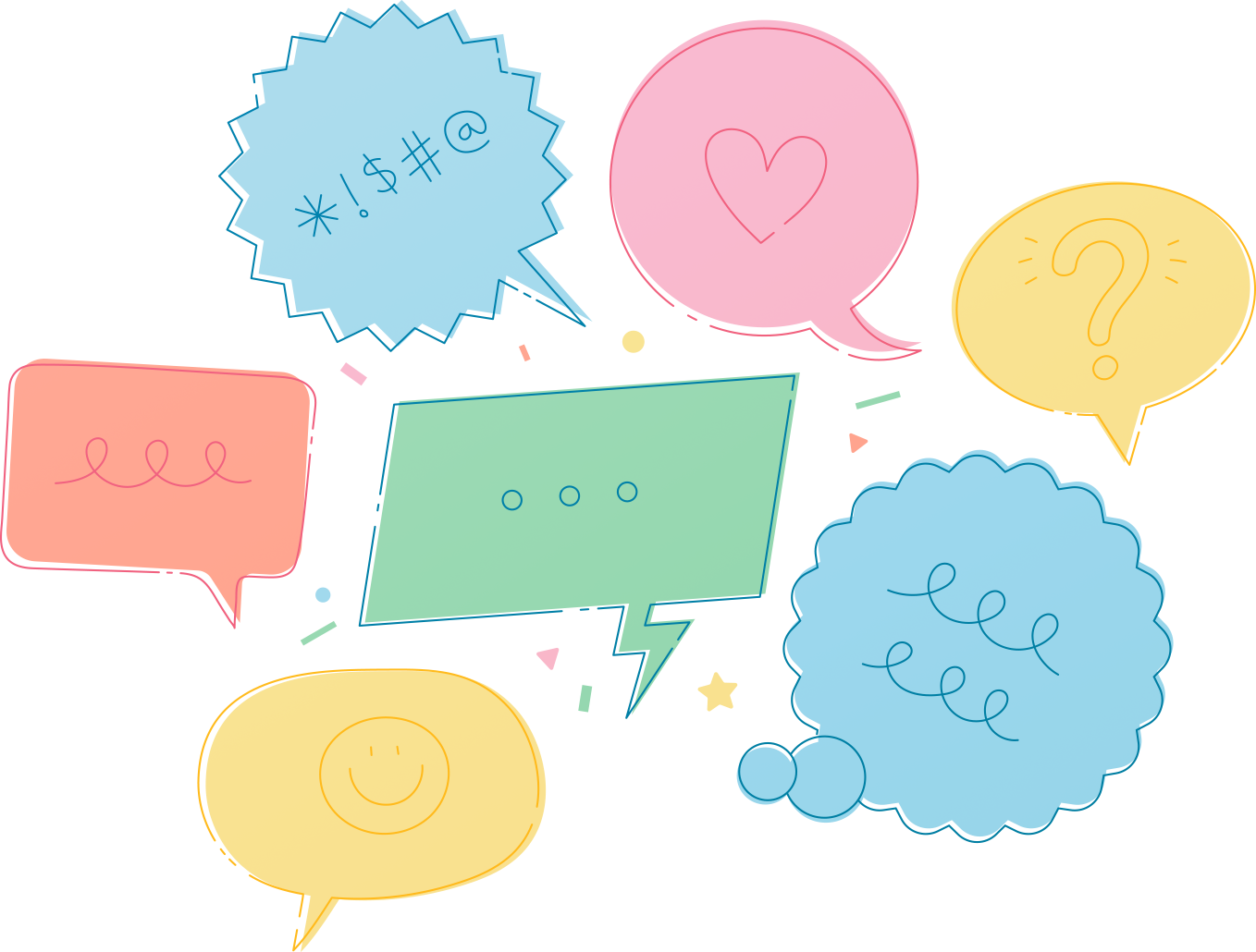 Multiple speech bubbles with random symbols